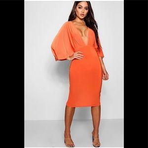 Orange Kimono Split Sleeve Midi Dress